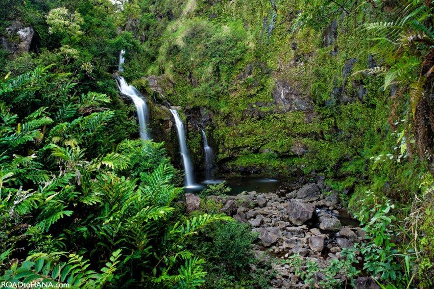 Upper Waikani Falls   Also known as Three Bears Waterfalls in Hana, Maui, Hawaii